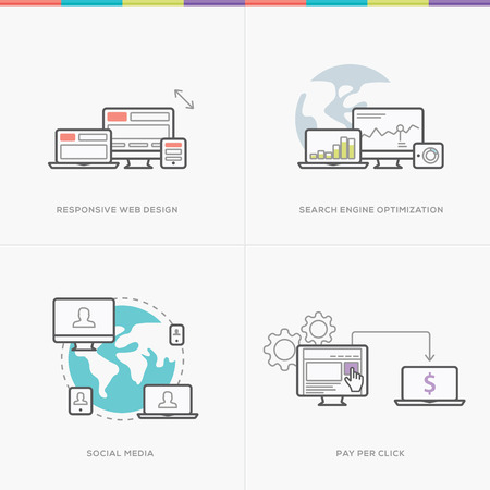 Flat web development concepts minimal vector computer line style Illustration