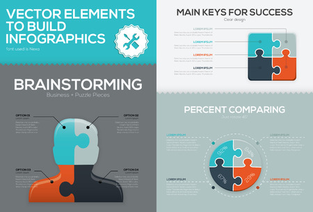 Business jigsaw vector infographic set and puzzle piece concept Vector