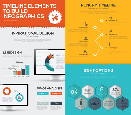 Timeline infographic vector set and business computer flat color Illustration