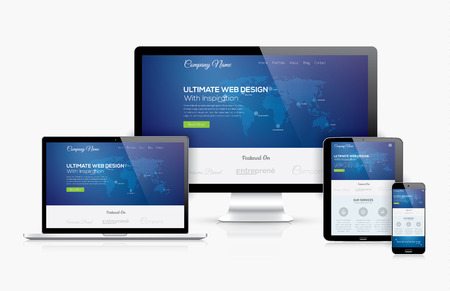 Responsive web design template realistic vector devices concept Stok Fotoğraf - 30830002