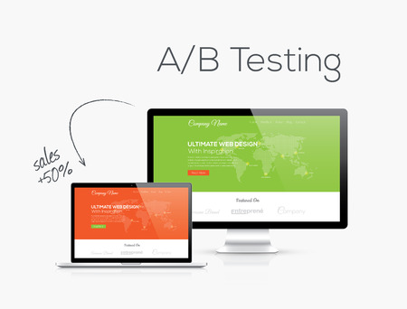 optimize: A B testing optimization in website design vector illustration