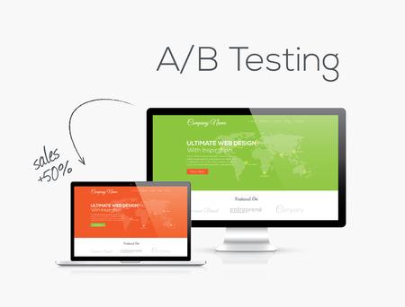 Web sitesi tasarımı vektör resimde AB test optimizasyonu