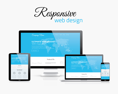 page views: Responsive web design in modern flat vector style concept image Illustration