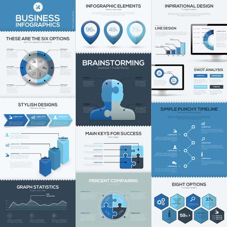 Blauw infographics vector elementen en sjablonen Stock Illustratie