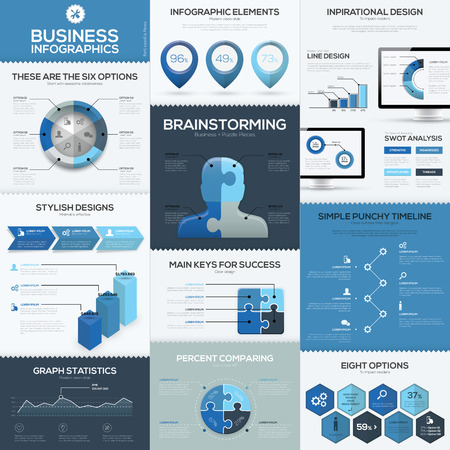 Blue business infographics vector elements and templates Ilustração