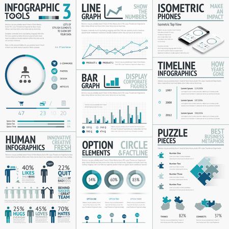 데이터 시각화 인포 그래픽에 대한 비즈니스 요소 일러스트