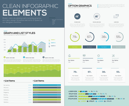 business presentation: User inteface elements to infographics and visualize data