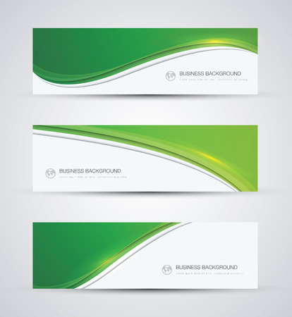 Green abstract beautiful business background wave banner