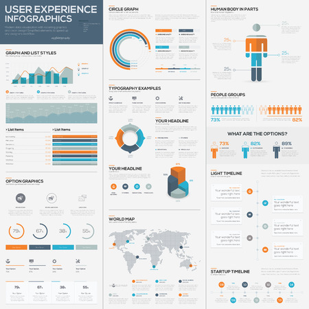 Big pack of data visualization vector infographics and elements