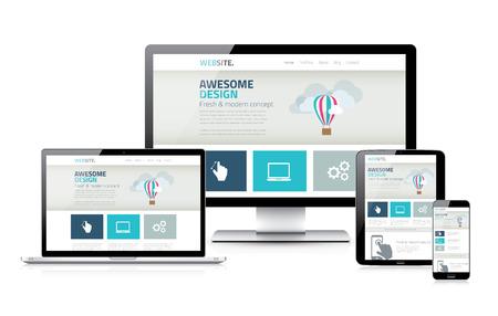 Stylish responsive web design development coding concept Illustration
