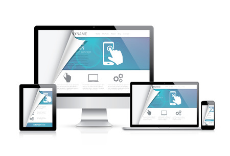 responsive design: Website styling coding concept. Realistic illustration. Illustration