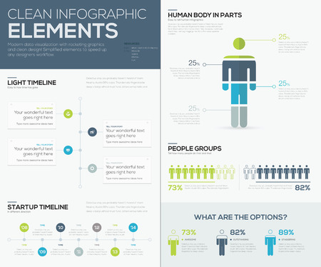 visualization: Green and blue infographic data visualization vector elements Illustration