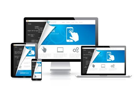 css: Responsive vettore web design con scritto il codice html in background Vettoriali
