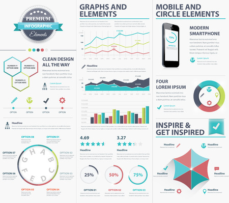 visualize: Big infographic elements collection to visualize data Illustration