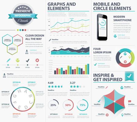 visualize: Grandi elementi infographic raccolta per visualizzare i dati