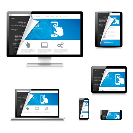 Isolated website development tablet, laptop, computer and phone Vector