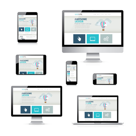 business website: Isolated Vector Electronic Devices with Responsive Web Design