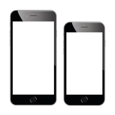 Two high quality black smartphone vector illustrations isolated