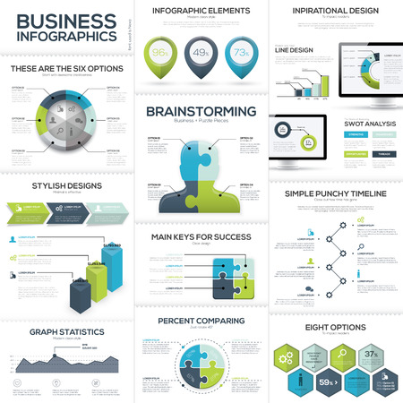 Business infographics and data visualization vector elements Ilustração