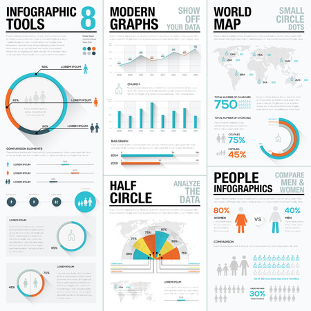 Human and people infographic elements in blue & red color Ilustracja