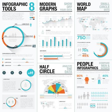 Mens en mensen infographic elementen in blauwe en rode kleur