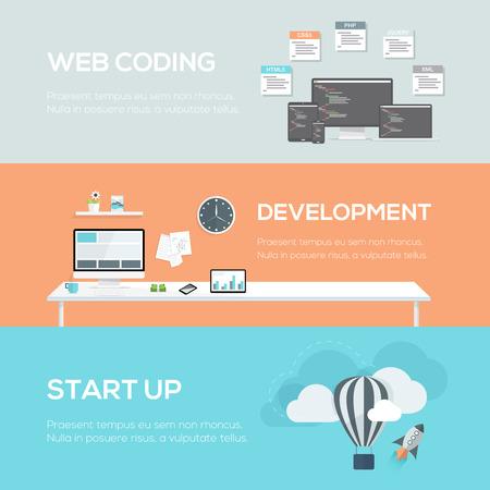 � image: Conceptos de dise�o web planas. Codificaci�n Web, desarrollo y puesta en marcha.