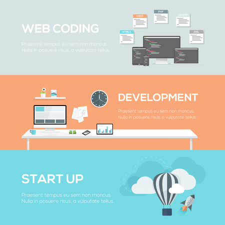 header image: Flat web design concepts. Web coding, development and startup.