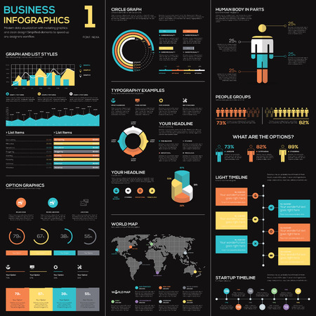 Business infographics vector elements in blue, red and yellow Ilustração