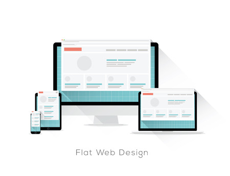 Flat responsive web design vector concept with long shadows  イラスト・ベクター素材