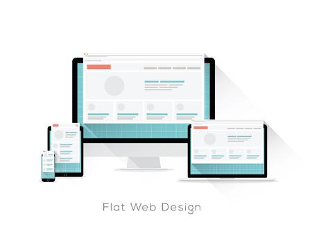 Flat responsive web design vector concept with long shadows 일러스트