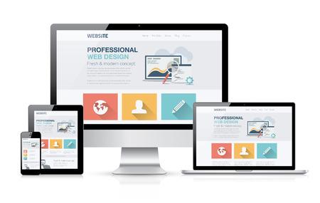 počítač: Moderní koncept web design. Flat vektorové ilustrace mock-up.