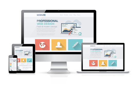 laptop: Modern web design concept. Flat vector illustration mock up. Illustration