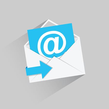 Flat email vector pictogram met blauwe pijl en lange schaduw Stock Illustratie