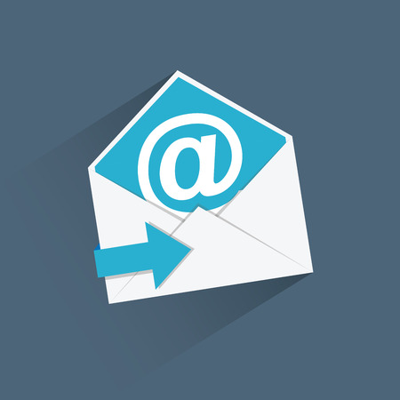 Flat e-mail vector icon with blue arrow and long shadow