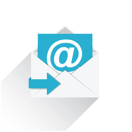 Platte e-mail vector icon met lange schaduw op wit wordt geïsoleerd