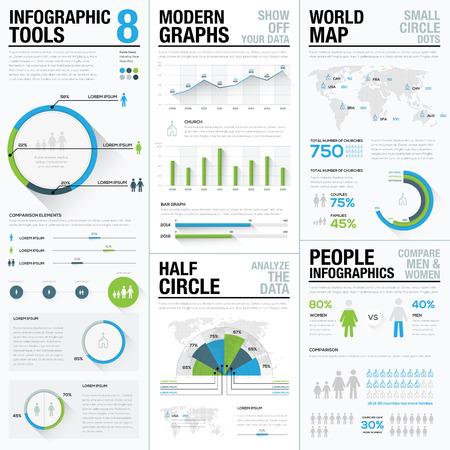 Wereldkaart infographics & zakelijke visualisatie vectorelementen Stock Illustratie
