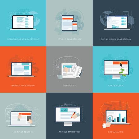 search engine marketing: Modern flat internet marketing business vector illustrations set