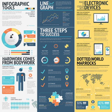 Business infographics vector elements in 3 flat business colors