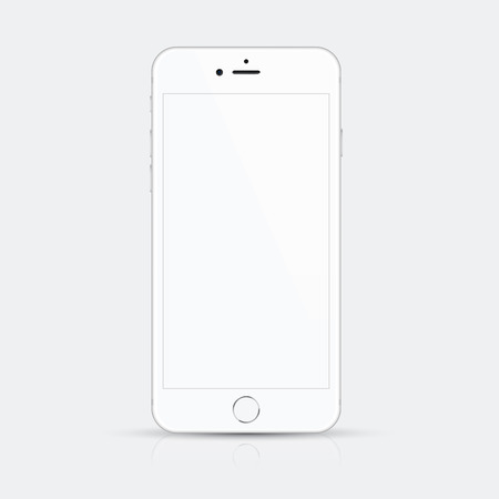 retina display: White smartphone vector illustration with high quality details