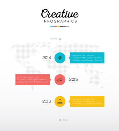 verticales: Infografía línea de tiempo con tres opciones de colores planos empresariales