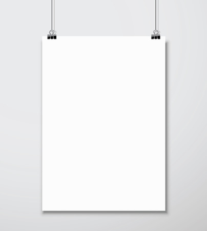 poster designs: Empty white A4 sized vector paper mockup hanging with paper clip