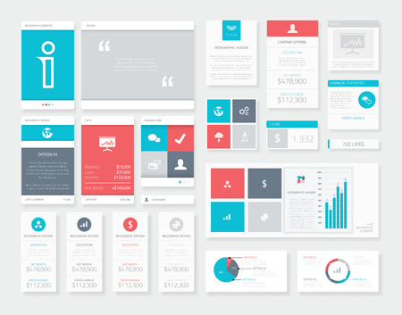 Flat Ui Infographics Vector Kit. Mobile Data Visualization Pack. Illustration