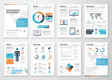 ビジネス データの可視化のためのインフォ グラフィック パンフレット要素