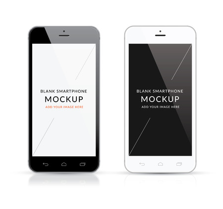 New black and white modern smartphone mockup vector illustration Stock fotó - 34363841