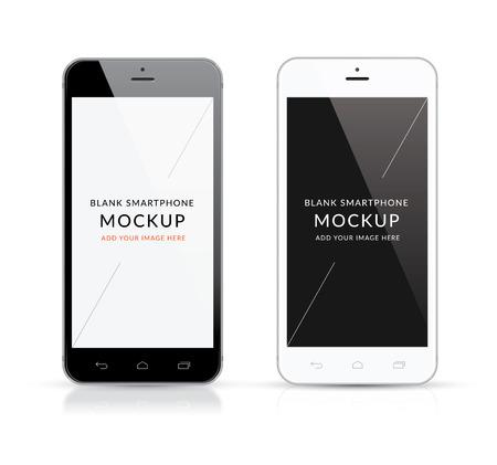 Nieuwe zwarte en witte moderne smartphone mockup vector illustratie