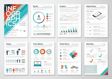 Infographic flyer en brochure elementen voor data visualisatie Stock Illustratie