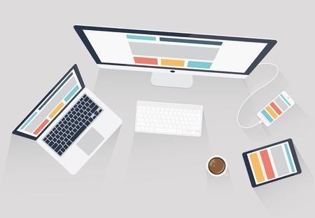 Duyarlı web tasarımı ve web geliştirme vektör çizim