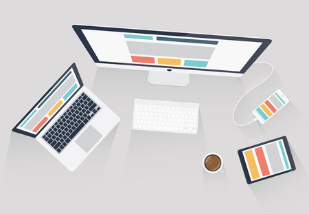 Responsive web design and web development vector illustration