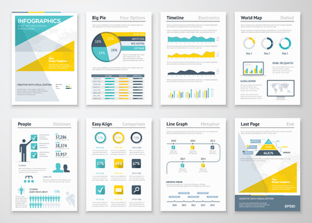 with sets of elements: Business info graphics vector elements for corporate brochures
