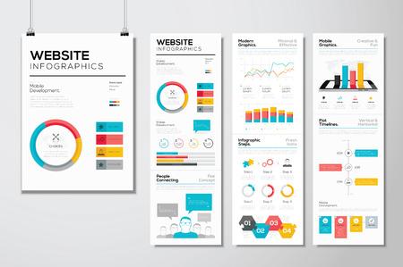 フラット web デザイン ・ ウェブサイト インフォ グラフィック ビジネスのベクトルの要素  イラスト・ベクター素材